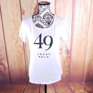 """Chico's White """"49 Years Bold"""" T-Shirt Size 0 (S)"""